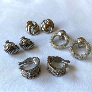Vintage Lot of Silvertone Earrings